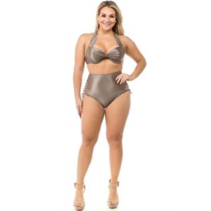 Lattice bikini in bronze color